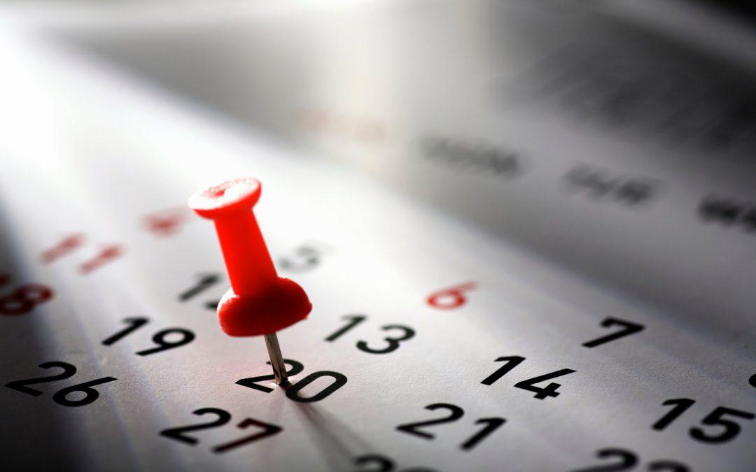 Calendario delle attività del 2018